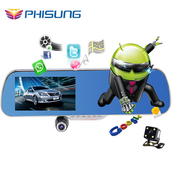 """5.0"""" IPS Touch Android 4.4 ROM 16GB FHD1080P dash camera parking car dvrs Rearview mirror video recorder Car DVR Dual Camera GPS"""