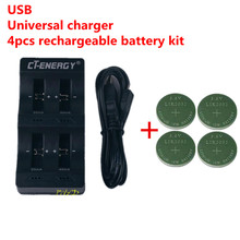 High Quality Universal USB Interface 4-Slot Charger 1PCS + 4PCS Rechargeable Button Battery LIR2032 Button Battery