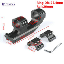 "MIZUGIWA Heavy Duty 1"" 25.4mm Cantilever Flat Top Rifle Scope Mount Dual Rings Picatiiny Rail 20mm Weaver Mount Hunting Caza(China)"