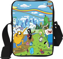 2017 New Cartoon Finn and Jake Adventure Time Bag Children School Bags for boys Crossbody Bag Kid Handbag Cheap Trendy Sling Bag(China)