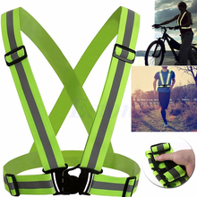1 pcs Unisex Outdoor Cycling Safety Vest Bike Ribbon Bicycle Light Reflecing Elastic Harness for night riding running Jogging(China)