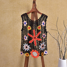 Vintage Casual Crochet Knit Floral Hollow Out Lace Vest Tops Blouse Handmade Beach Cover Up 2017 Flower Patterns shirts blusas(China)