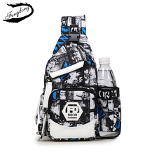 Fengdong New Men Chest Bags Casual Waterproof Men Backpack Travel Sling Chest Pack Chest Bags For Men Triangle Bolsas(China)