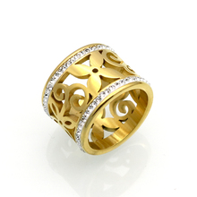 BORASI 2017 New Crystal Rings For Women White Rhinestone Stainless Steel Gold Color Wedding Female Flower Rings Teen Jewelry(China)