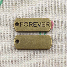 17pcs Antique Style Bronze Color forever Pendants Findings Charms 21*8mm(China)