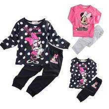 2016 New Baby Kids Girls Clothing set MINNIE Cartoon Mouse Long Sleeve Dot Tops T-Shirt+Pants 2pcs Outfits 2-5Y