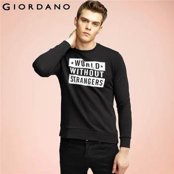 Giordano homens moletom gráfico impresso pullover o-pescoço mangas compridas camisola casual clothing velo terry pullover