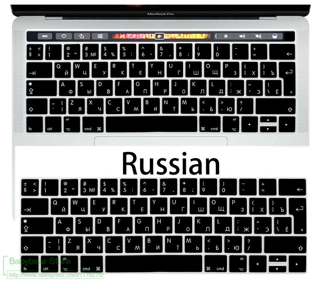"Russian Thai Korean Taiwanese Silicone Keyboard Cover For MacBook Air 13/"" A1932"