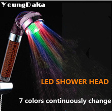 Bathroom Accessories,7 Colors Continuously Change Led Light Shower Heads Negative Ion SPA Shower Filter Water-Saving Head Douche