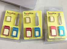 100set/lot Colorful 4-in-1 Nano to Micro & Standard Sim cards adaptor for iPhone 4 4s 5 5s 6 6 Plus
