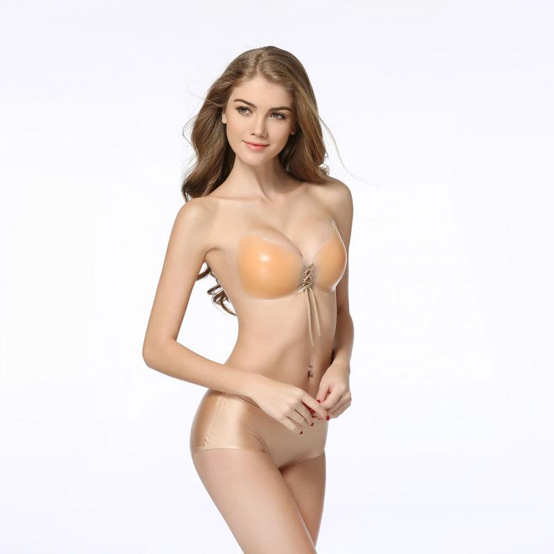 YUFEIDA Women Sexy Invisible Bra Self-Adhesive Strapless Silicone Breast Enhancer Push Up Bra Bralette for Bridal Veil Dress 7