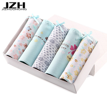 JZH Hot Sale 5PCS\lot Women Panties Cotton Sexy Briefs Plus Size Cozy Underwear Seamless Breathable Lingerie Intimates For Girls(China)