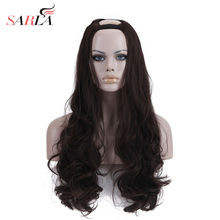 "SARLA Xmas Long Wavy U Part Wigs 26"" Resist High Temperature Synthetic Hairpieces Silk Hair Extensions  9 colors Available UW01(China)"