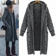QIHUANG 2017 Long Cardigan Sweater Fashion Women Hooded Knitted With Pockets Cardigan Sweater Autumn/Winter Warm Sweater Coat