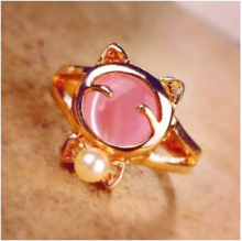 ra041 2015 Hot Meng to burst bow Lucky cat smiling cat opal ring Jewelry Wholesale