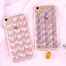 Glitter Sequins 3D Love Heart Phone Cases For iPhone 8 7 6 6s Plus Case Bling Transparent Soft TPU Gel Back Cover Fundas Coque