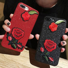 new fashion beautiful red rose glitter embroidery cover for apple iPhone 6 6s plus 5.5 iPhone7 7plus soft mobile phone case capa