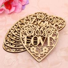 Fashion New Couples Hollow Out Love Heart Shape Wooden Ornaments Mininature Home Hanging Decorative Crafts Decorations 10pcs/lot