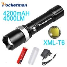 2018 CREE T6 flashlight Lanterna de led High Power Torch 4000 lumen Zoomable 18650 LED Flashlight tatica light lantern bike