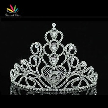 "Peacock Star Bridal Pageant Beauty Contest Big Tall 6"" (15 cm) Tiara Crown use Austrian Crystal CT1580"