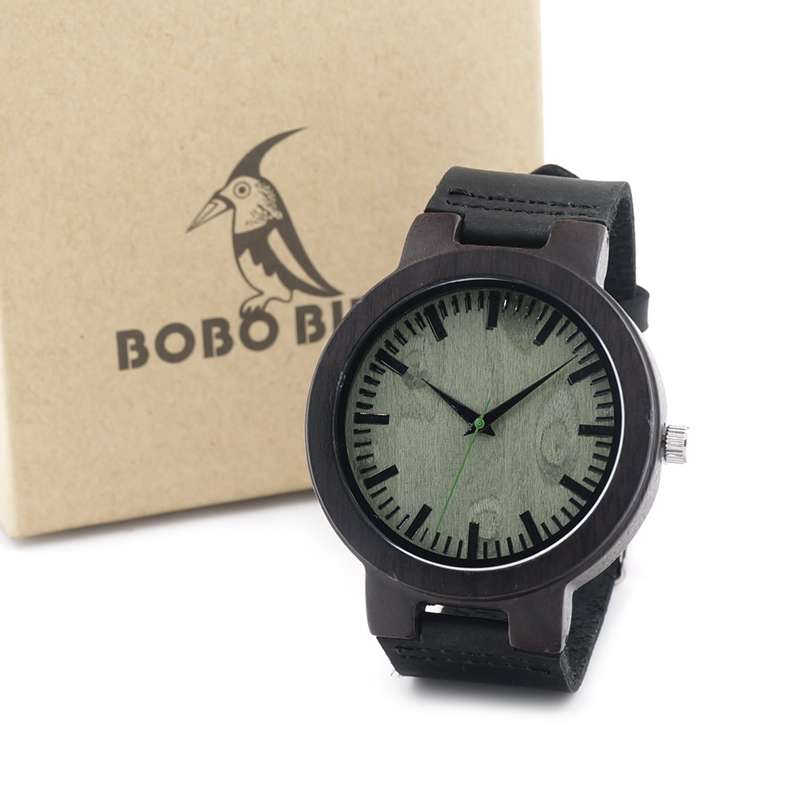 BOBO BIRD C25 Mens Ebony Wood Design Watches Green Dial Timepiece Genuine Leather Quartz Watch for Mens Wrist Watch<br><br>Aliexpress