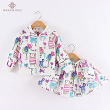 Wasailong Spring and autumn next  Cartoons graffiti Long sleeve  Brand Girls Clothing Sport Suits Toddler  ( Jacket + Skirt )