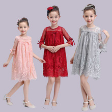 2017 Girls Summer Princess Lace Dresses Teenage Girls Clothing Clothes Hollow Out Kids Dresses sexy children images(China)