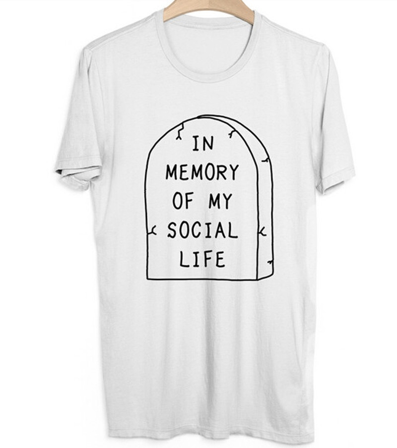 2016 In Memory of My Social Life Women T-Shirt Pastel Goth Grunge Goth Kawaii Internet Hipster Rip Punk Indie Cute T-shirt