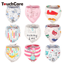 2 Layers Newborn Cartoon Colorful Baby Boy Girl Bibs Infant Soft Cotton Toddler Animal Burp Cloth Waterproof Saliva Scarf Towel