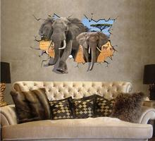 3 d elephants local UV fashion personality background adornment bedroom stick The fifth generation of wall stickers