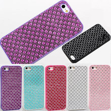 Hot sale Sexy lady Premium Matte frosted jewel diamond grid Soft resin TPU Case For iPhone 5 5G 5S protector Back Cover 6 colors
