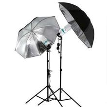 "83cm 33"" Photo Studio Flash Light Grained Black Silver Umbrella Reflective Reflector Wholesale Drop Shipping(China)"