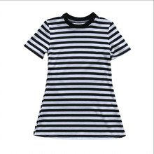 Toddler Kids Girls Black White Brief Dress Summer Girls Short Sleeve Princess Sundress Kids Striped Dress 2-7Y