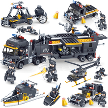 KAZI SWAT Team Command Vehicle Car 3D DIY Model Building Blocks Bricks Compatible With Legoe City Police Toys For Children Boys(China)