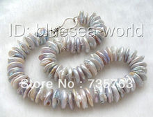 xiuli 00173 huge silver gray coin natural SOUTH Reborn keshi pearls necklace