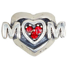 Mother's Day Sale 20% Off Heart with Cz Stone 100% 925 Sterling Silver Charm Beads Fits European Charms Bracelet S(China)
