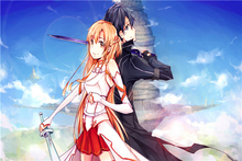 Custom Canvas Art Sword Art Poster Sword Art Online Game Wall Stickers SAO Mural Anime Wallpaper Bedroom Christmas Decor #384#(China)