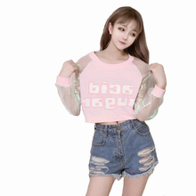 WOWMITY Spring Autumn Barbie Pink Letter Print Hologram Cleaar Long Sleeve Hoodies Young Girl Punk Rock Hip Hop Shirt Pullovers