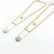 New Fashion Gold Color 3 Layer white Green Round Turquoise Stone Necklace For Women Multilayer Crystal Bar Neckalce 8645