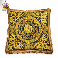 High-end royal europe rich french italy design print rococo medusa brand gold red wedding back cushion covers pillow case luxury(China)