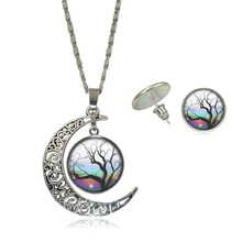 Fashion Jewelry Sets Glass Cabochon Tree Life Pictures Silver Plated Half Moon Chain Necklace Stud Earring Set Statement Jewelry