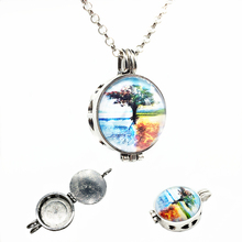 1pc Vintage Silver Four Seasons of Tree Design Essence Oil Fragrance Aroma Diffuser Trendy Cameo Locket Pendant Necklace Jewelry