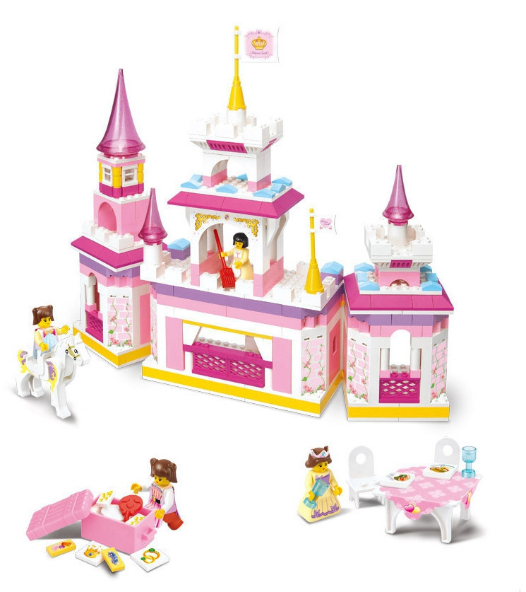 Sluban Pink Dream Learning education  Princes Series Castle Kids Gift Building Block Set Girl rick Toy Set Compatible With Legoe<br>