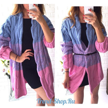 2017 New Women Fashion Color Matching Big Twist Cardigan Sweater Dress Long Loose Sweater