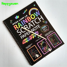 Happyxuan 19*26cm Large Magic Color Scratch Note book Paper Black DIY Drawing Toys Scraping Painting Kid 2017 New(China)