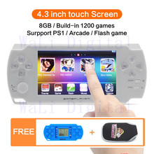 4.3 inch touch screen 8GB Handheld Game Console Video Game Console build in 1200no-repeat game for PS1/Arcad/gba/fc/gbc/smd/sfc(China)
