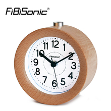 FiBiSonic Mute Sweep Movement Snooze Small Round Classic Wood Alarm Clock Silent Desk Alarm Clock With Nightlight(China)