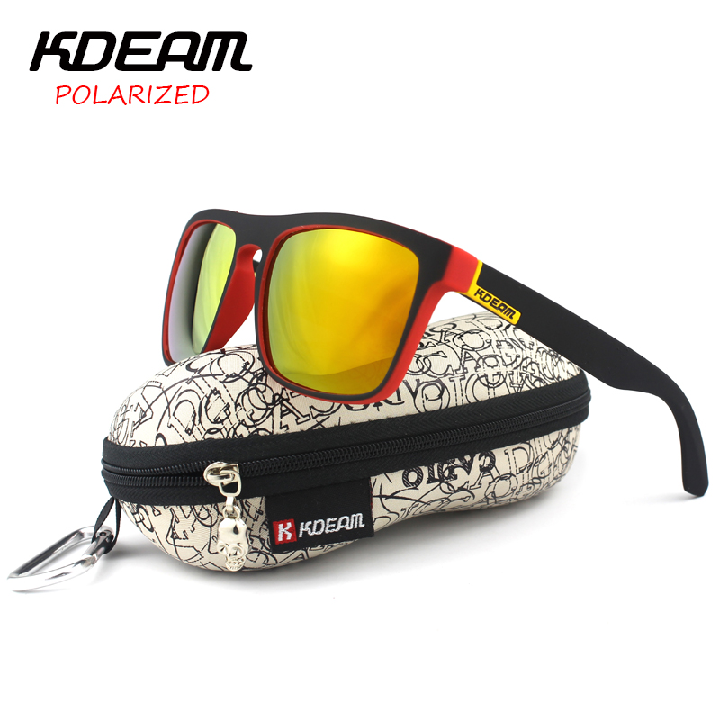 KDEAM Polarized Sunglasses 2016 Hot Men Sport Sun Glasses Metal Hinges HD Polaroid lens Square Frame With Hard case 10 Colors<br><br>Aliexpress