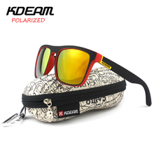 KDEAM Polarized Sunglasses 2017 Hot Men Sport Sun Glasses Metal Hinges HD Polaroid lens Square Frame With Hard case 10 Colors(China)