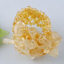 Free shipping Yellow Stone Chip Beads Stretch Finger Ring US 6~10 Charm Jewelry PJ137